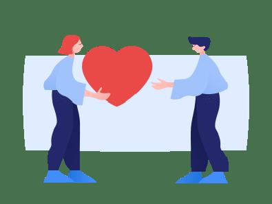 salarié qui porte un cœur